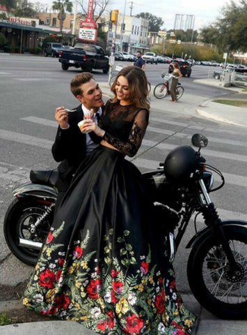 A-Line Black Two Piece Satin Lace Print Long Sleeve Backless Long Prom Dress
