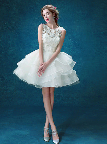 Short Tulle Lace Appliques Wedding Dress