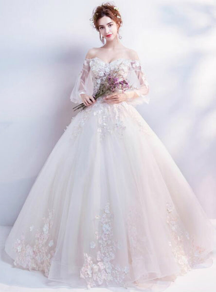 In Stock:Ship in 48 hours Long Sleeve White Tulle Appliques Lace Up Wedding Dress