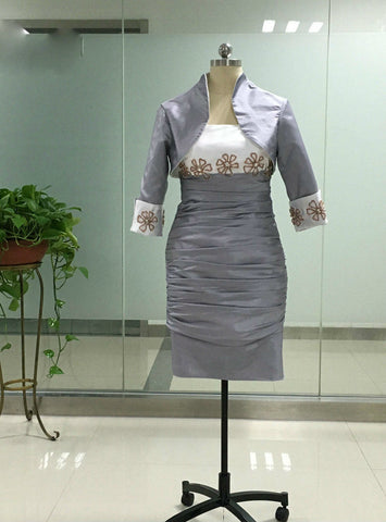 Fabulous Mother Of The Bride Dresses with jacket Silver Bride Mother Dresses