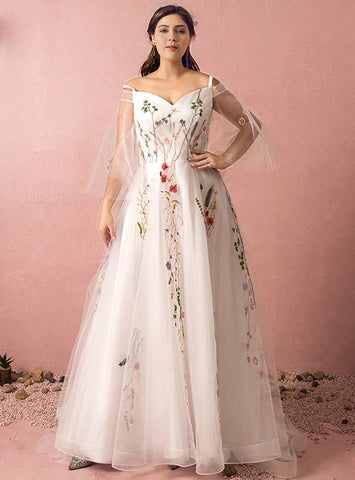 Plus Size White Tulle Straps Embroidery Long Prom Dress