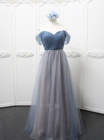 Cheap Off The Shoulder Grey Tulle Bridesmaid Dress