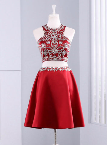 Elegance 2 Piece Red Evening Dress Graduation Dresses