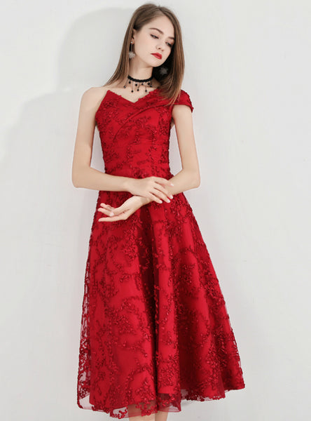 In Stock:Ship in 48 Hours Lovely A-Line Lace One Shoulder Prom Dress