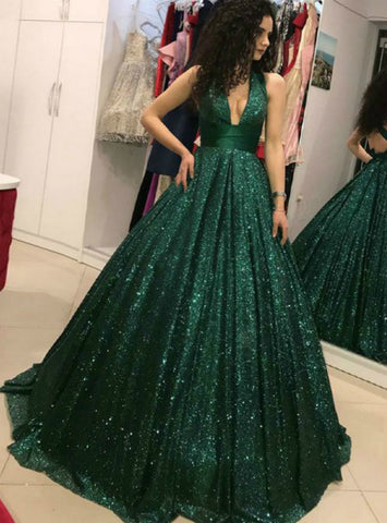 A-Line Dark Green Ball Gown Sequin V-Neck Open Back Prom Dress