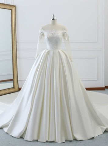Fabulous Ivory White Satin Off The Shoulder Long Sleeve Wedding Dress