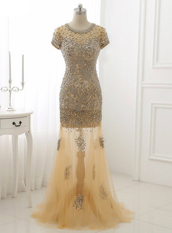 Short Sleeve Sparkly Gold Crystal Mermaid Prom Dress