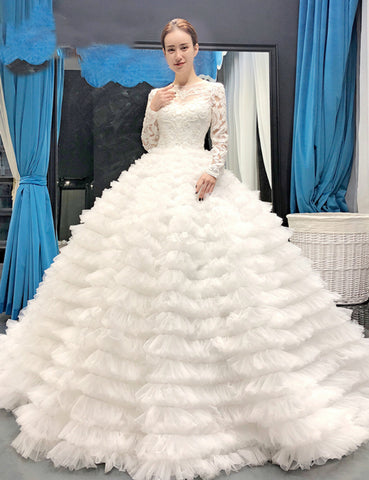 Fairy Tale White Tulle Lace Appliques Long Sleeve Backless Wedding Dress