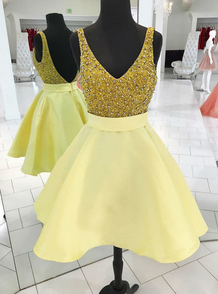 Sweet Short Gold Homecoming Dress Party Dress High quality Sparkly Sequins