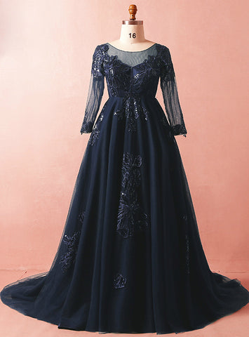 Plus Size Blue Tulle Appliques Long Sleeve Prom Dress