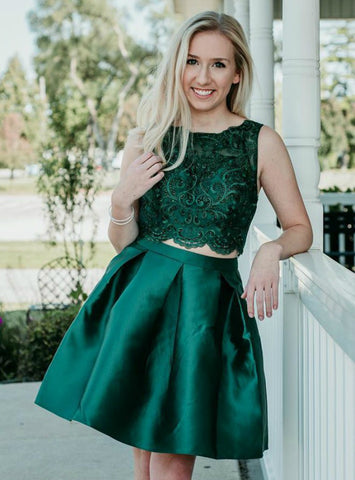 A-Line Two Piece Dark Green Satin Homecoming Dress With Lace Beading