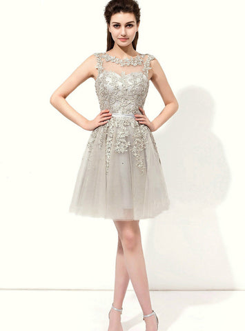 Gray Tulle Appliques Backless Knee Length Bridesmaid Dress