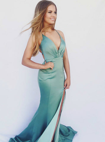 Turquoise Mermaid V-Neck Lace Up Back Satin Long Prom Dress With Side Split