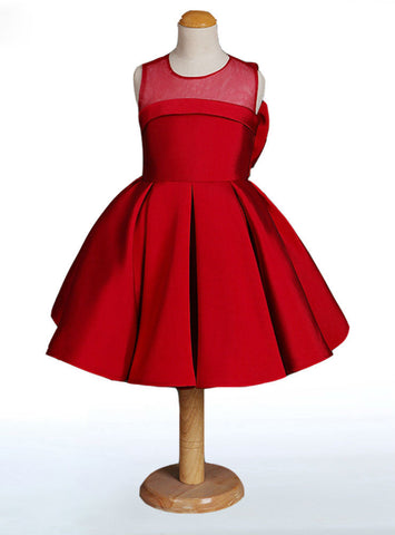 Cute Red Flower Girl Dresses Stain High Quality