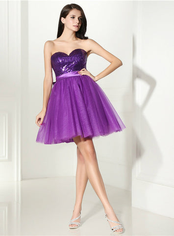 A-Line Purple Tulle Sequins Sweetheart With Bow Homecoming Dress