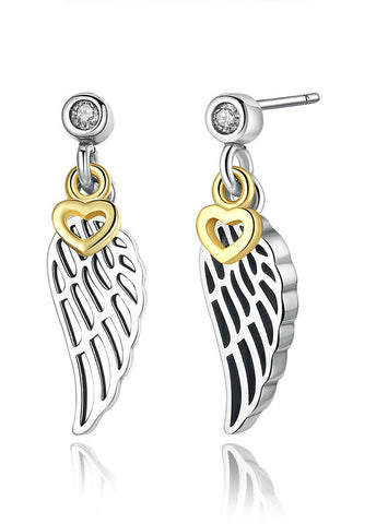 Silver Color Feather Wing Heart Pendant Women