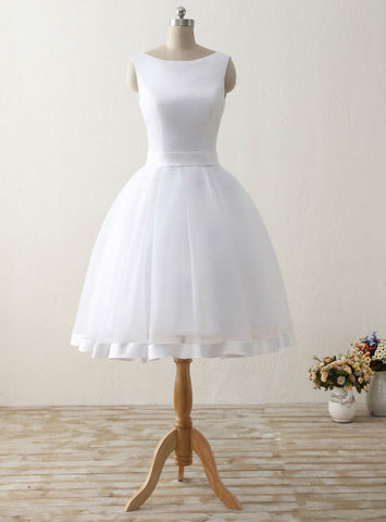 Women Backless Organza Satin Bow Simple Cheap Short Beach Wedding Dresses Formal