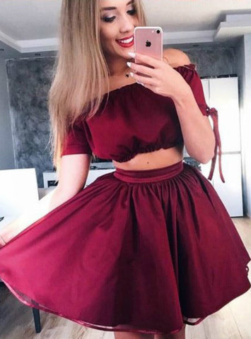 Burgundy Two Piece Off The Shoulder Short Sleeve Homecoming Dress