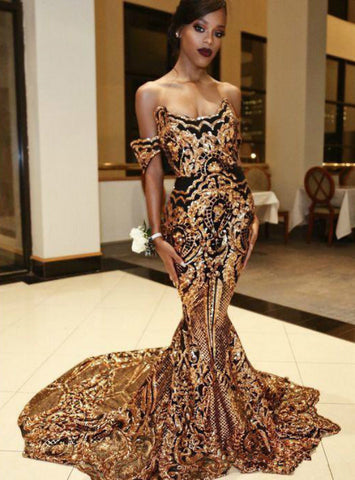 Sexy Gold Sequins Mermaid Off The Shoulder Long Prom Dresses