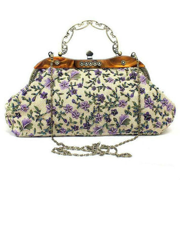 Cheap Vintage Clutch Bag Floral Embroidery For Mom
