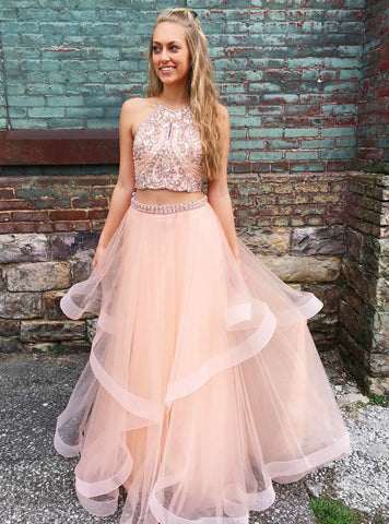 A-Line Pink Two Piece Tulle Halter Beaded Long Prom Dress