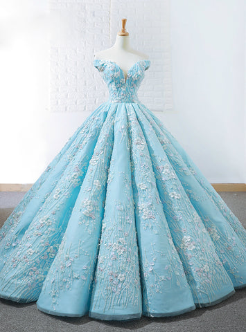 Blue Ball Gown Off The Shoulder White Appliques Floor Length Wedding Dress