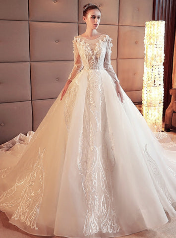 Brilliant White Ball Gown Tulle Lace Appliques Long Sleeve Wedding Dress