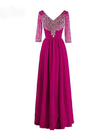 Noble V-neck Beadings Chiffon 2017 Long Evening Dress With 3/4 Sleeves