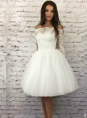 White Tulle Lace Off The Shoulder Half Sleeve Short Homecoming Dress