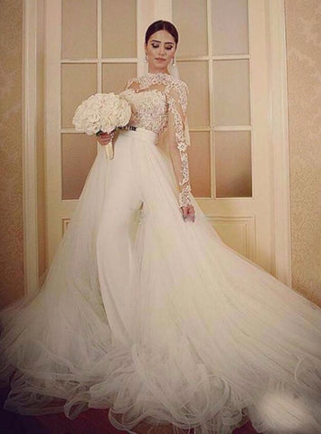 2017 Princess long sleeves lace ball gown wedding dresses removable skirt