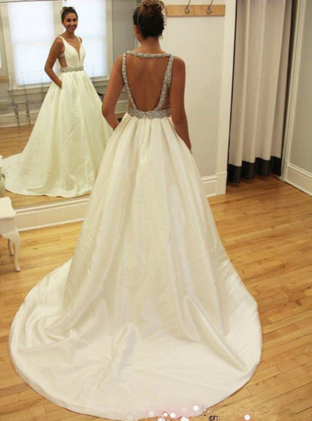 Cute Long Custom Wedding Gowns Sexy Deep V Neckline Wedding Dresses