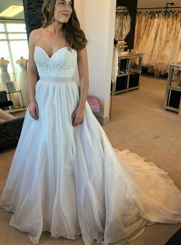 A-line Sweetheart Neck Backless Chiffon Sleeveless Wedding Dress