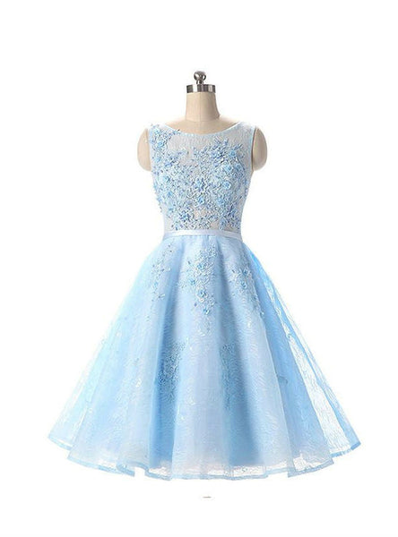 Adorable Light Blue Appliqued Sleeveless Lace Homecoming Dresses