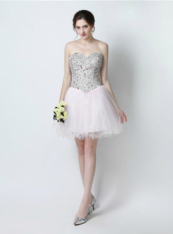 Light Pink Tulle Sweetheart Short Homecoming Dress With Crystal