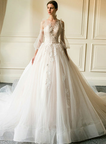 Champagne Ball Gown Tulle Appliques Long Sleeve Wedding Dress