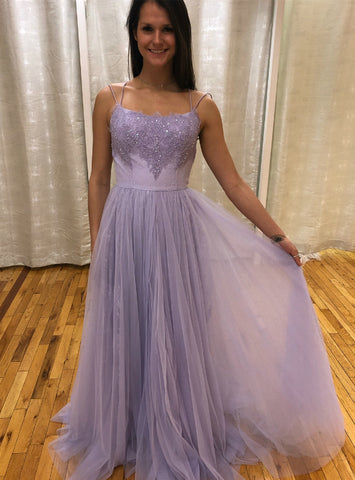 Purple Tulle Spaghetti Straps Appliques Beading Crossed Back Prom Dress