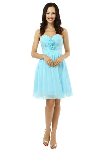 Light Blue Chiffon Sweetheart With Pleats Short Homecoming Dress