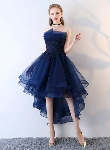 Graceful Applique Backless Junior School Dress High-Low Homecoming Dress