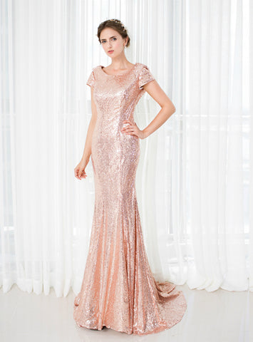 Sexy Pink Mermaid Scoop Sequins Cap Sleeve Backless Bridesmaid Dress