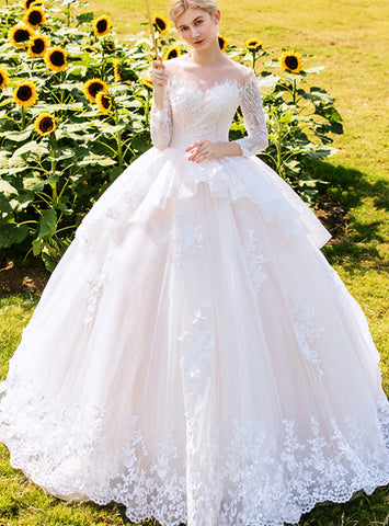 Glamorous Champagne Tulle Lace Long Sleeve Floor Length Wedding Dress