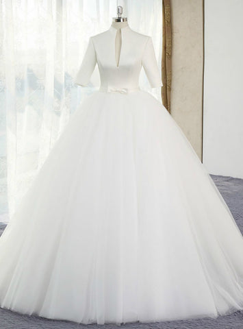 Delicate White Ball Gown Satin Tulle High Neck Short Sleeve Wedding Dress With Bow