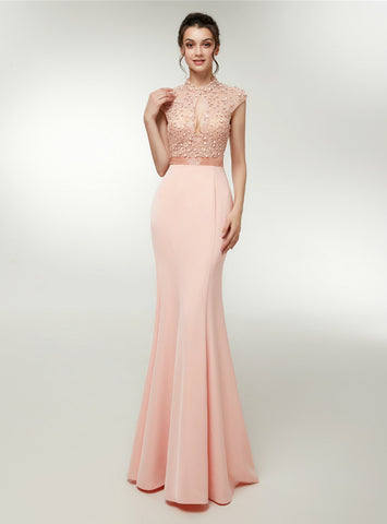 Pink Satin Mermaid High Neck Backless Cap Sleeve Prom Dress With Crystal