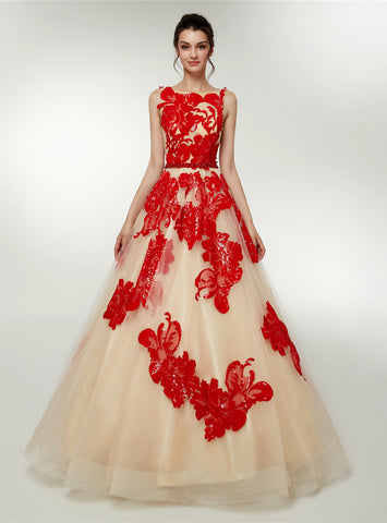 Champagne Tulle Red Sequins Appliques Backless Floor Length Prom Dress