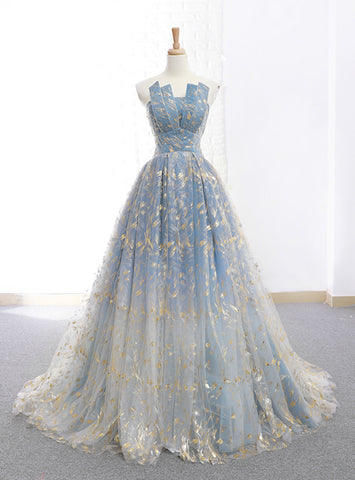 A-Line Blue Tulle Sequins Strapless Neck Long Wedding Dress
