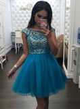 Impressive Backless Short Prom Gown Beading Bodice Tulle Homecoming Dress