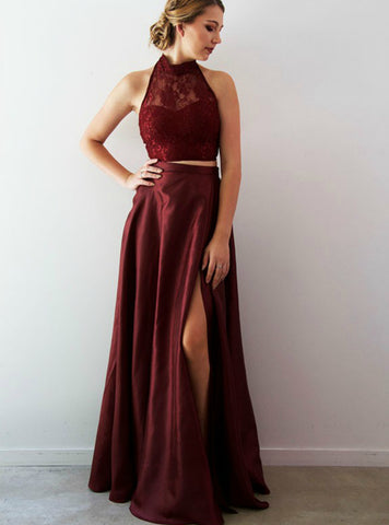 Burgundy Two Piece Lace Halter Long Prom Dress With Split Side