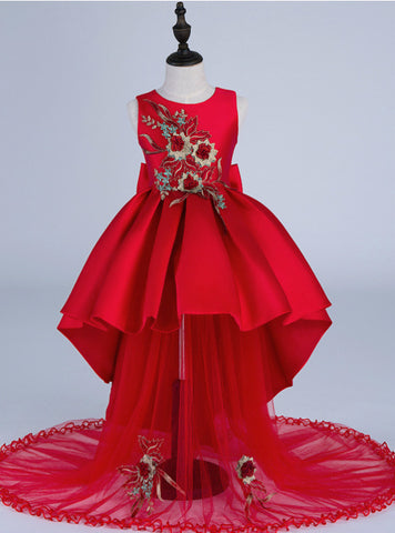 Red Satin Embroidery Kids Girls Flower Dress Girl Dresses