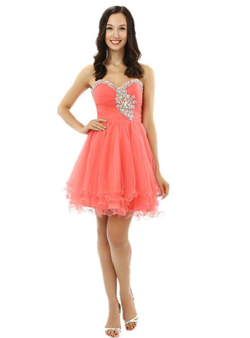 A-Line Sweetheart Neck Tulle With Beading Homecoming Dress