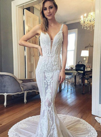 Popular Lace Wedding Dress See Through Bridal Dress Long Wedding Dress