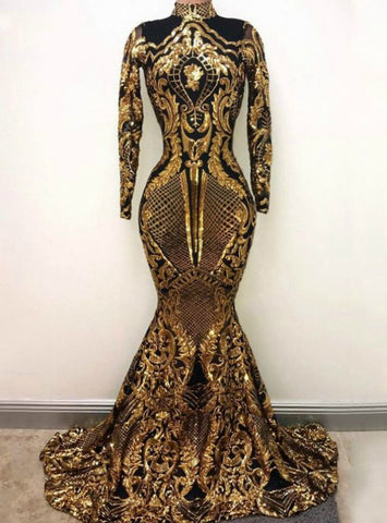 Gold Sequin High Neck Mermaid Long Sleeve Sparkly Prom Dress